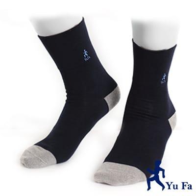 【YuFa】銀纖維竹炭抑菌防臭健康紳士襪(藍)