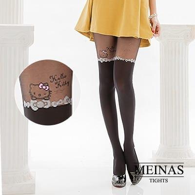 美娜斯 Hello Kitty蝴蝶結假膝上襪(#986)