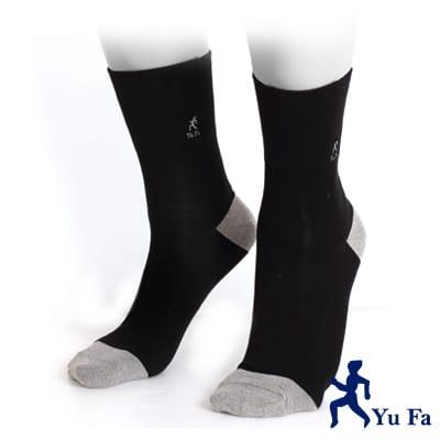 【YuFa】銀纖維竹炭抑菌防臭健康紳士襪(黑)