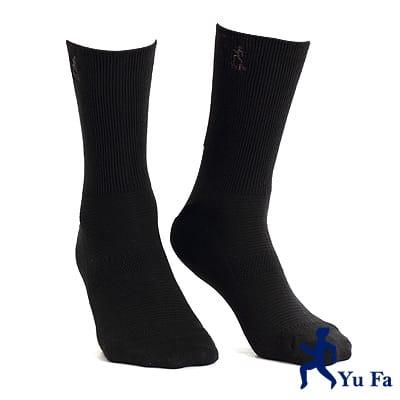 【YuFa】機能型除臭手工對目寬口運動襪(黑)