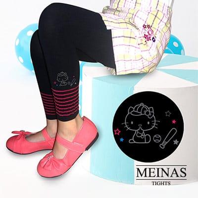 美娜斯 Hello Kitty打棒球粉紅線條兒童九分褲M-L(#1076)