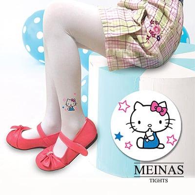 美娜斯 Hello Kitty白色蝴蝶結兒童絲襪/褲襪M-L(#10742 )