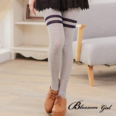 Blossom Gal日系學院膝上條紋棉質褲襪(共三色)