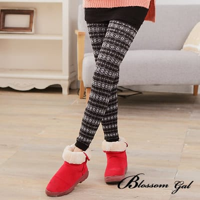 Blossom Gal冬季暖暖滿版雪花內裏毛九分內搭褲襪(共四色)