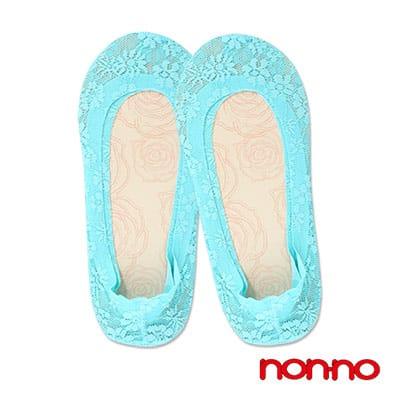 儂儂 春夏必備蕾絲超低淺口後跟止滑隱形襪套(水藍)