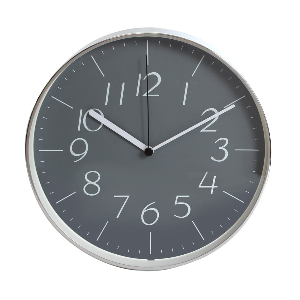 Lovel 25cm工業風鋁框靜音壁掛時鐘-灰色時空(dgy722)