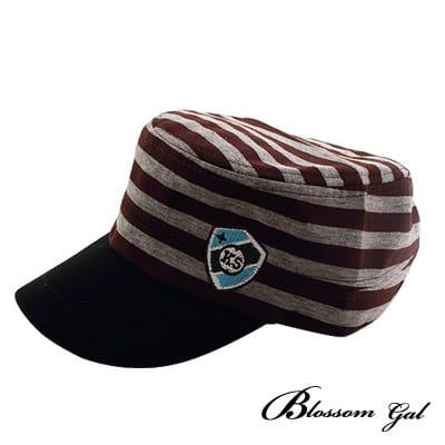 Blossom Gal海軍風條紋徽章軍帽(咖啡)