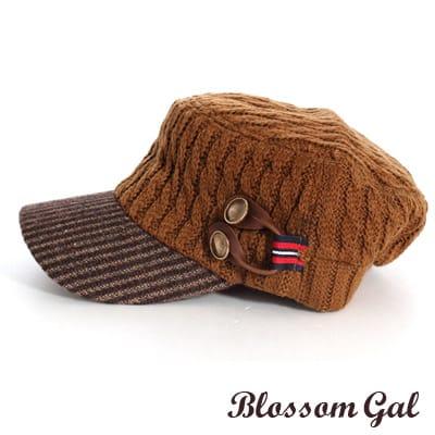 【Blossom Gal】韓版時尚VIVI款針織感軍風軍帽(棕)