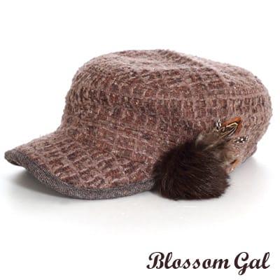 【Blossom Gal】韓版時尚VIVI款毛呢格小毛球軍帽(可可)
