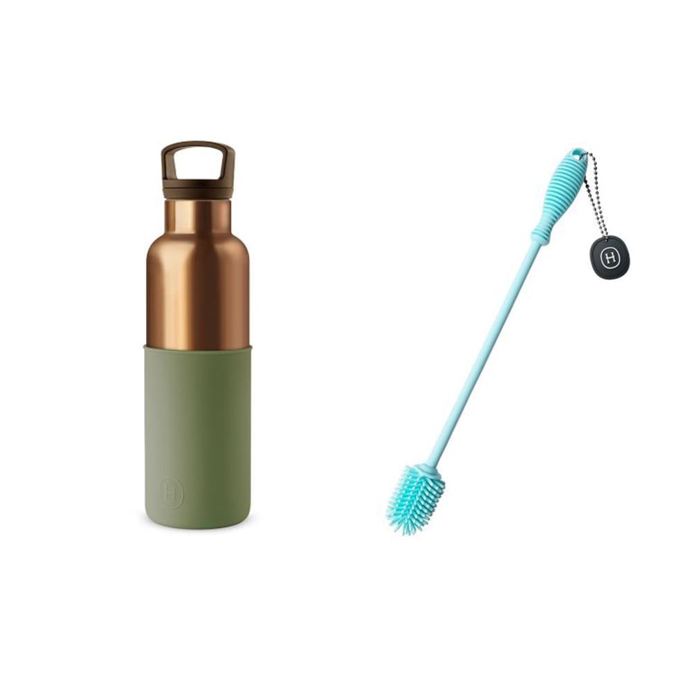 限時85折│美國 HYDY CinCin Déco 古銅金時尚保溫瓶刷組(海藻綠590ml+刷具藍色)
