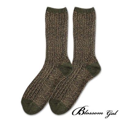 Blossom Gal 空氣毛線感混色造型短襪(綠)