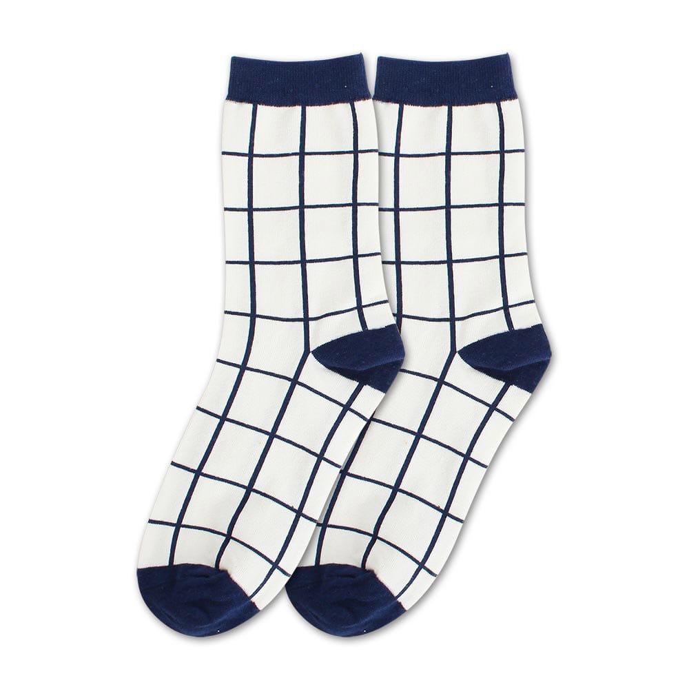 Blossom Gal 藍白世界簡約風格造型短襪(格子)