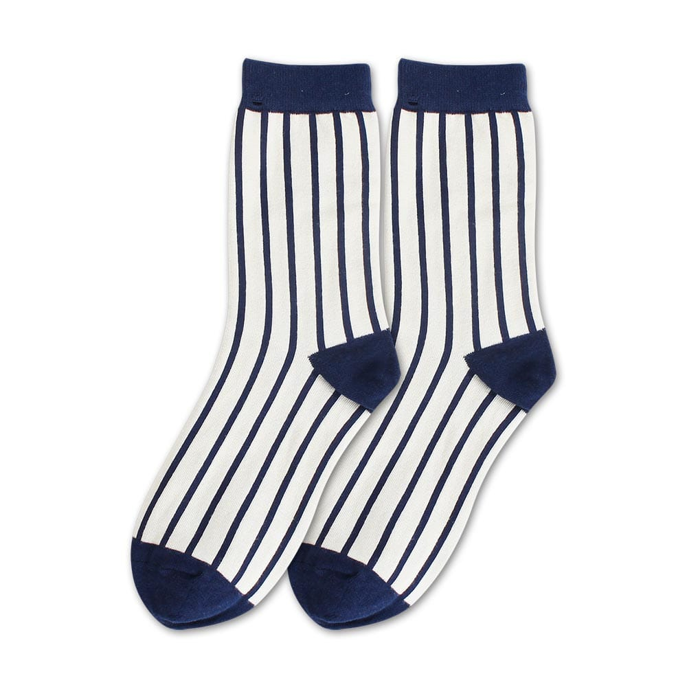 Blossom Gal 藍白世界簡約風格造型短襪(直紋)