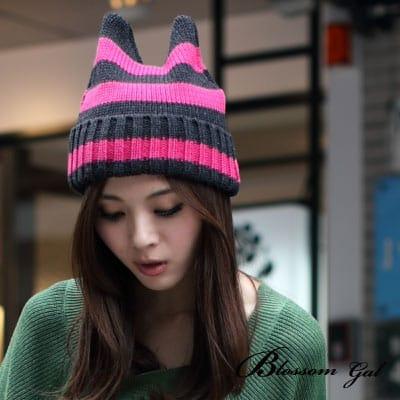 Blossom Gal韓國街頭小惡魔條紋針織帽(共三色)