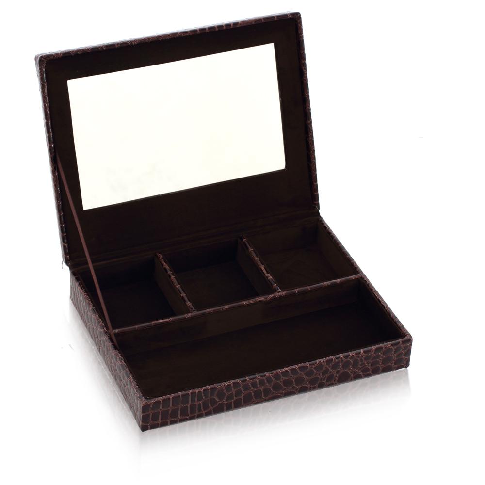 LOVEL 經典鱷魚紋皮革收納-防塵掀蓋4格珠寶盒(魅力咖/附鏡)