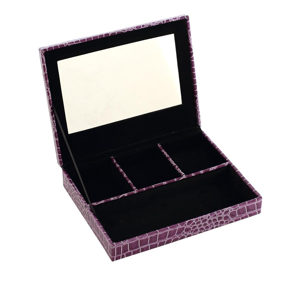 LOVEL 經典鱷魚紋皮革收納-防塵掀蓋4格珠寶盒(華麗紫/附鏡)