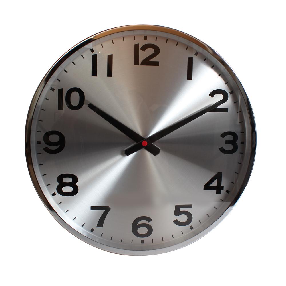 清倉價999|Lovel 38cm工業風鋁框靜音時鐘-銀色時光(M726)