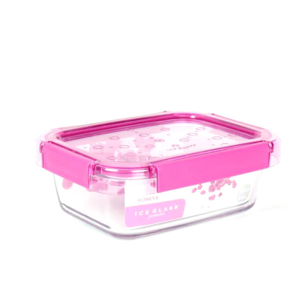 61折|韓國KOMAX Ice Glass冰鑽長型玻璃保鮮盒820ml-梅果粉