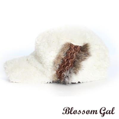 【Blossom Gal】韓版VIVI款奢華感兔毛裝飾軍帽(白)