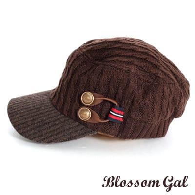 【Blossom Gal】韓版時尚VIVI款針織感軍風軍帽(咖啡)