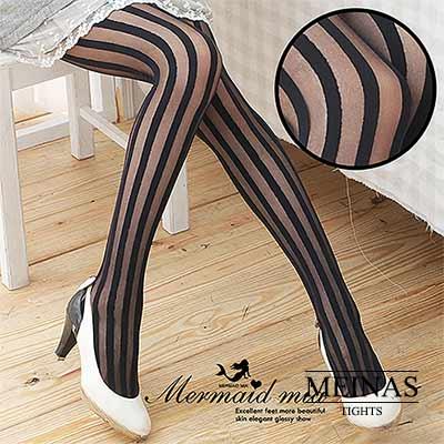 美娜斯 顯瘦直條紋絲襪/褲襪(#95)
