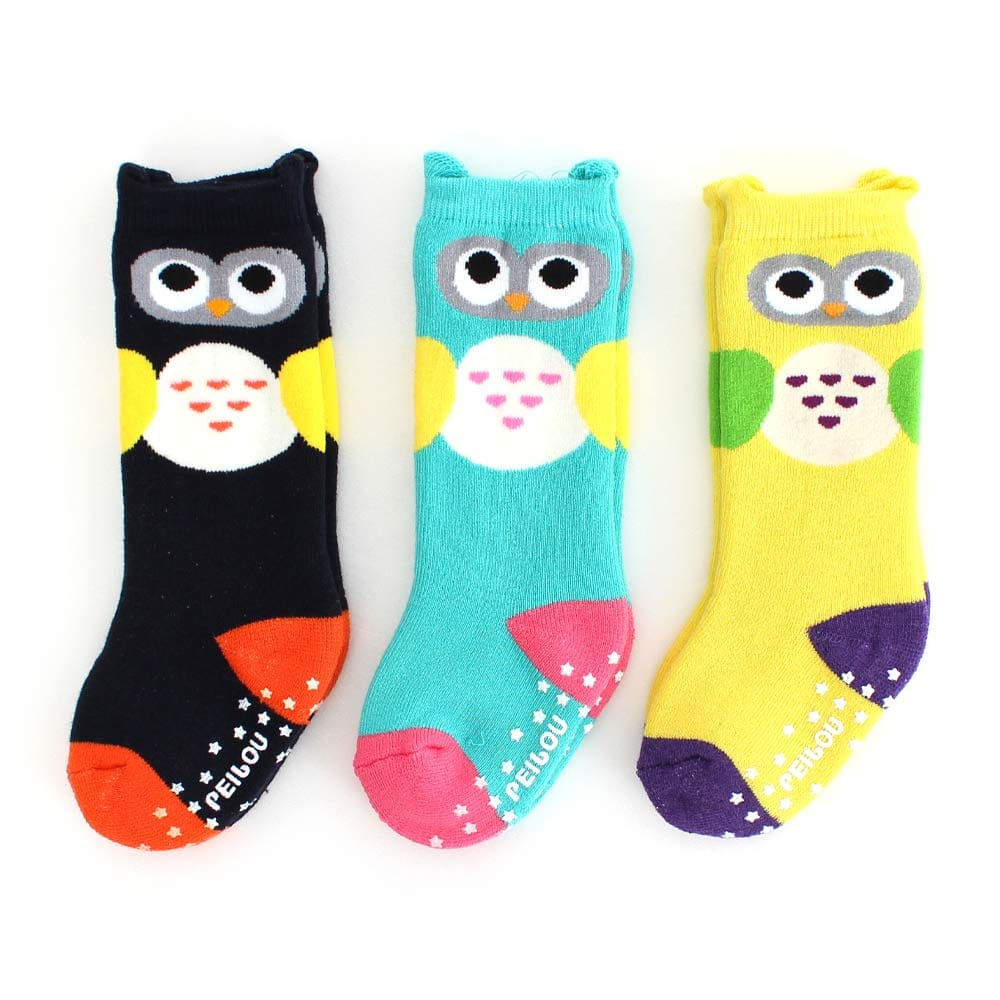 貝柔 小聰明貓頭鷹萊卡長統寶寶毛巾襪3入組(9~15cm)
