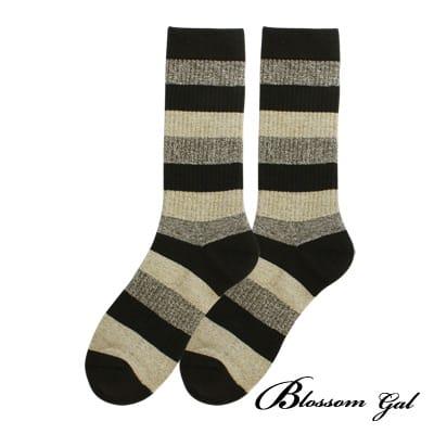 Blossom Gal美式休閒直羅紋萊卡長襪(粗條紋-綠)