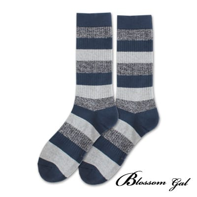 Blossom Gal美式休閒直羅紋萊卡長襪(粗條紋-藍)