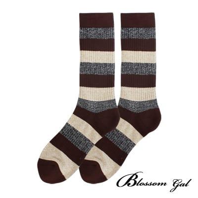 Blossom Gal美式休閒直羅紋萊卡長襪(粗條紋-咖)
