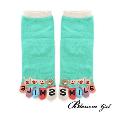 Blossom Gal日本進口動物SMILE立體腳跟五趾襪(綠)