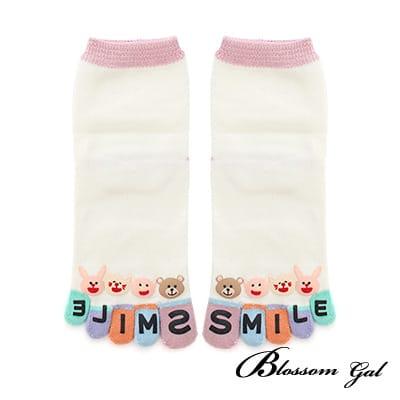 Blossom Gal日本進口動物SMILE立體腳跟五趾襪(白)