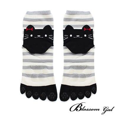Blossom Gal日本進口條紋貓立體腳跟止滑五趾襪(灰)