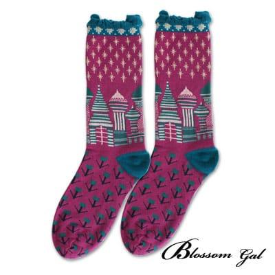 Blossom Gal 滿天星城堡泡泡花邊造型短襪(紫)