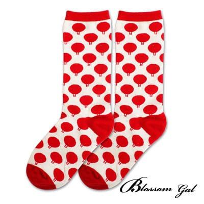 Blossom Gal 馬戲團卡通世界繽紛造型短襪(炸彈紅)