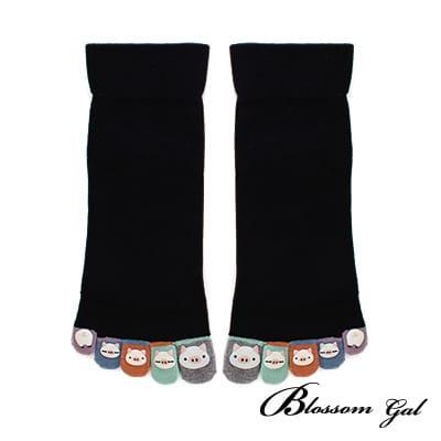 Blossom Gal日本進口小豬仔立體腳跟五趾襪(黑)
