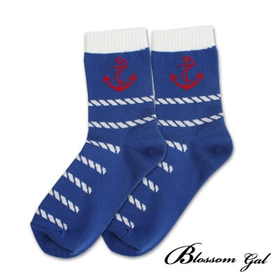 Blossom Gal簡約條紋款配色造型短襪(船錨藍)