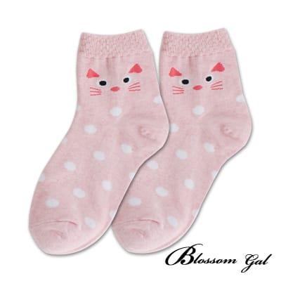 Blossom Gal呆呆貓臉圓點造型短襪(粉)