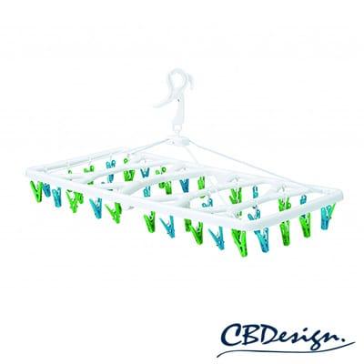 cb-kogure繽紛系列輕巧曬衣架40夾(藍綠)