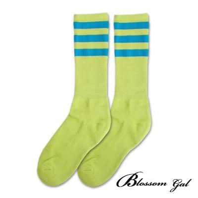 Blossom Gal 繽紛亮彩條紋運動風足球長筒襪(藍綠)