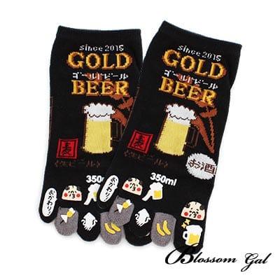Blossom Gal日本進口啤酒立體腳跟五趾襪(黑)