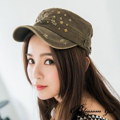 Blossom Gal 搖滾精神率性風軍帽(軍綠)