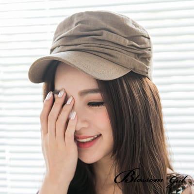 Blossom Gal美式休閒素面層次感軍帽(棕)