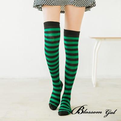 Blossom Gal 繽紛雙色條紋中統膝上襪(共七色)