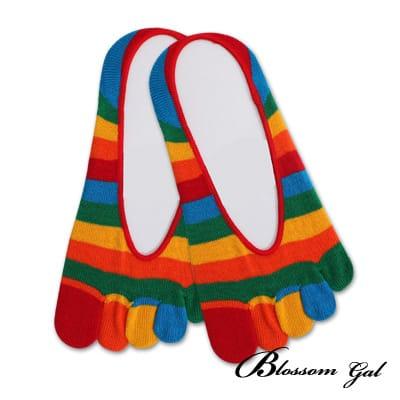 Blossom Gal 腳後跟矽膠止滑隱形五指襪-亮眼彩虹(共5色)