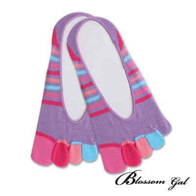 Blossom Gal 腳後跟矽膠止滑隱形五指襪-繽紛細紋(共5色)