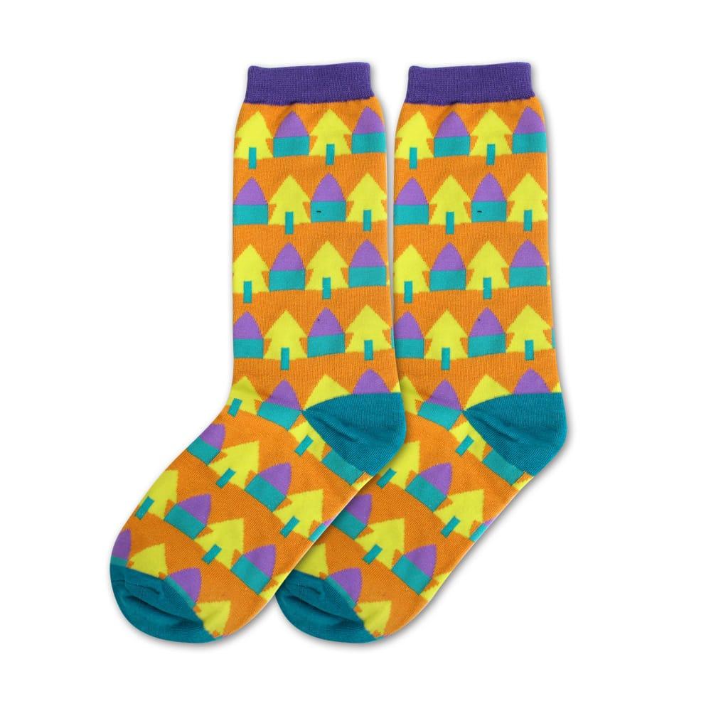 Blossom Gal 韓版滿滿森林小樹撞色造型短襪(橘黃)