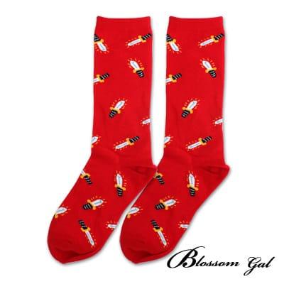 Blossom Gal 馬戲團卡通世界繽紛造型短襪(光劍紅)