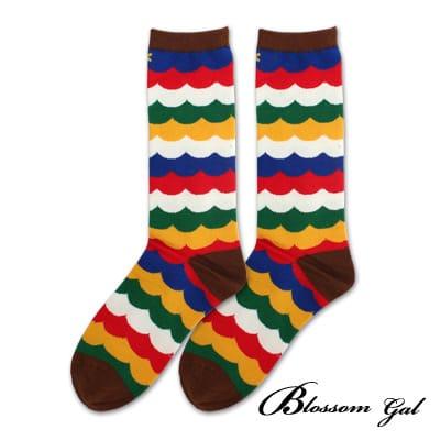 Blossom Gal 馬戲團卡通世界繽紛造型短襪(波浪彩虹咖)