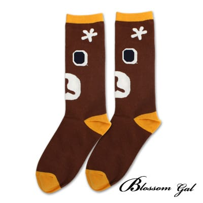 Blossom Gal 馬戲團卡通世界繽紛造型短襪(棕熊咖)