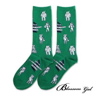 Blossom Gal 馬戲團卡通世界繽紛造型短襪(機器人綠)